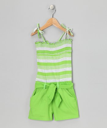 Laser Lime Stripe Smocked Romper - Girls