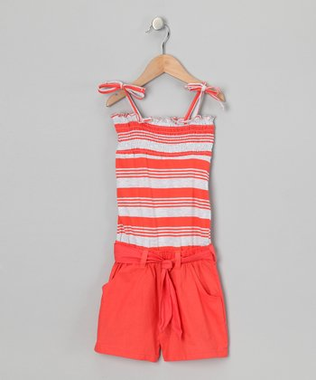 Mango Tango Stripe Smocked Romper - Toddler & Girls