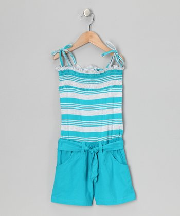 Pacific Blue Stripe Smocked Romper - Toddler & Girls