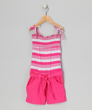 Pink Punk Stripe Smocked Romper - Toddler & Girls