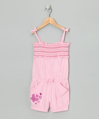 Pink Butterfly Gathered Romper - Toddler & Girls