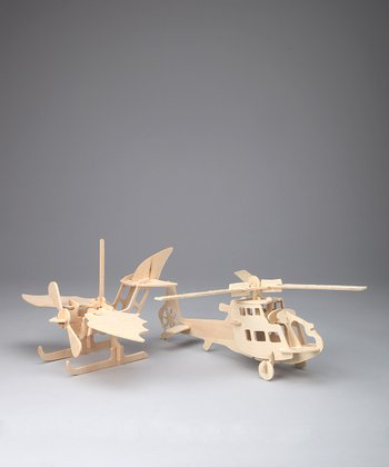 Helicopter & Sea Plane Woodcraft Models