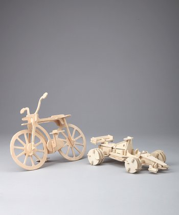 Bicycle & Formula 1 Race Car Woodcraft Model