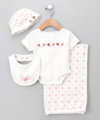 White & Pink Rosette Bodysuit Set