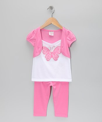 Pink Butterfly Shrug Tunic & Leggings - Toddler