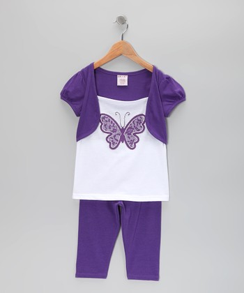 Purple Butterfly Shrug Tunic & Leggings - Toddler