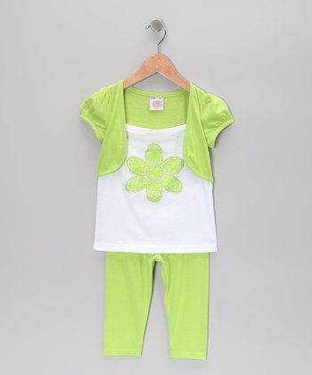 Green Flower Shrug Tunic & Leggings - Toddler & Girls