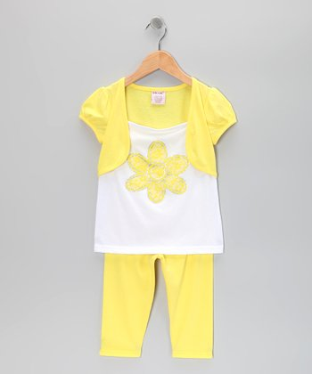 Yellow Flower Shrug Tunic & Leggings - Toddler & Girls