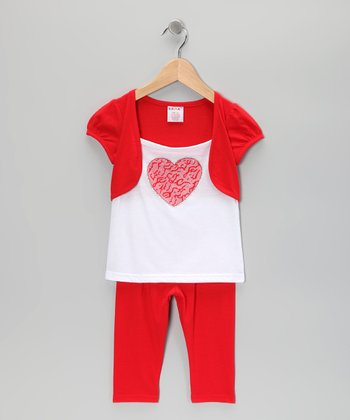 Red Heart Shrug Tunic & Leggings - Toddler