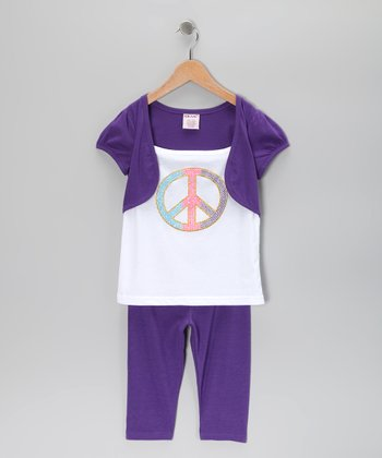 Purple Peace Sign Shrug Tunic & Leggings - Toddler