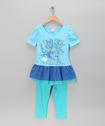 Blue 'Wish' Tunic & Leggings - Girls