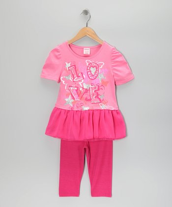 Pink 'Wish' Tunic & Leggings - Girls