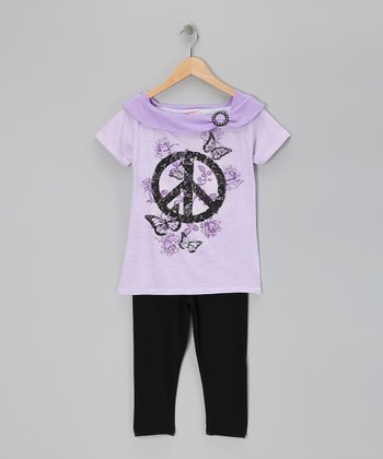Purple Peace Sign Tunic & Leggings - Girls