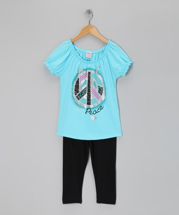 Blue Peace Sign Tunic & Leggings - Girls