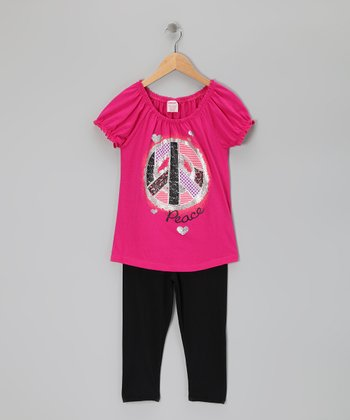 Hot Pink Peace Sign Tunic & Leggings - Girls