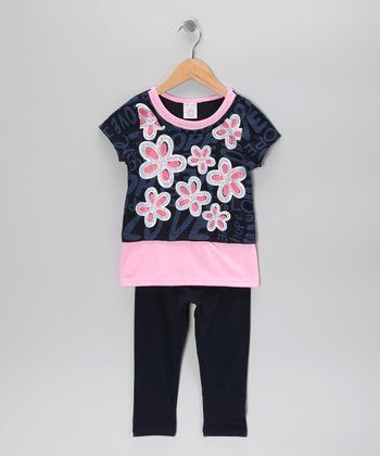 Peach Flower Layered Tunic & Leggings - Toddler