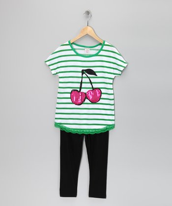 Green Stripe Cherry Tunic & Leggings - Girls