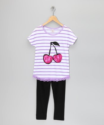 Purple Stripe Cherry Tunic & Leggings - Girls
