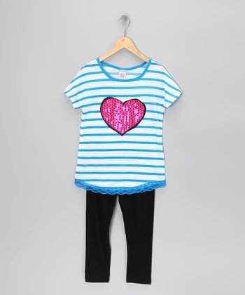 Blue Stripe Heart Tunic & Leggings - Girls