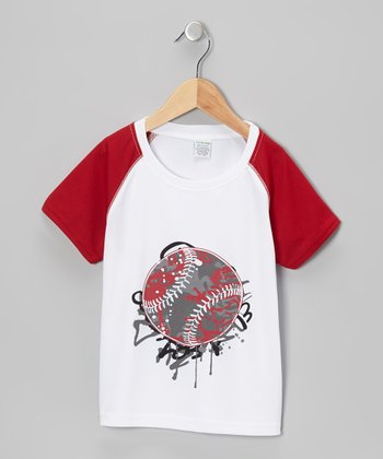 White & Red Baseball Tee - Toddler & Boys