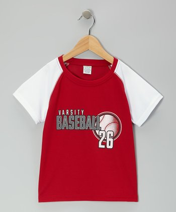 Red & White 'Varsity Baseball 26' Tee - Toddler & Boys