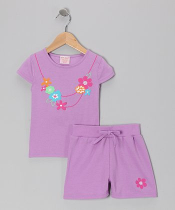 Purple Faux Necklace Tee & Shorts - Girls
