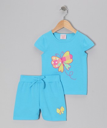 Blue Butterfly Tee & Shorts - Toddler & Girls
