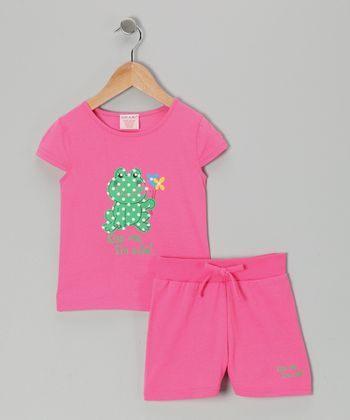 Pink Frog 'Kiss Me' Tee & Shorts - Toddler & Girls