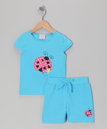 Blue Ladybug Tee & Shorts - Toddler