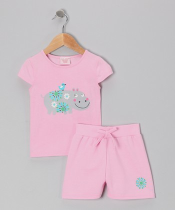 Pink Hippopotamus Tee & Shorts - Toddler & Girls