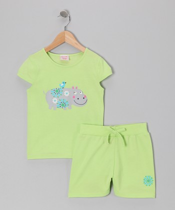 Light Green Hippopotamus Tee & Shorts - Toddler & Girls