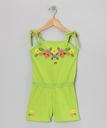 Green Ribbon Romper - Toddler & Girls
