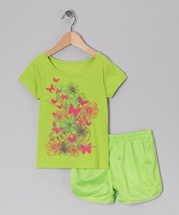 Green Flower Butterfly Tee & Shorts - Toddler