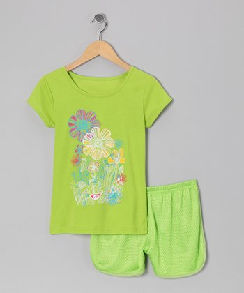 Green Flower Bird Tee & Shorts - Toddler