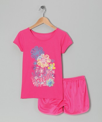 Pink Flower Bird Tee & Shorts - Toddler