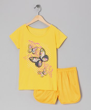 Yellow Butterfly Tee & Shorts - Toddler