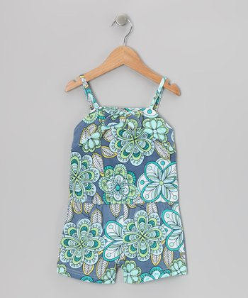 Blue Abstract Floral Romper - Toddler & Girls