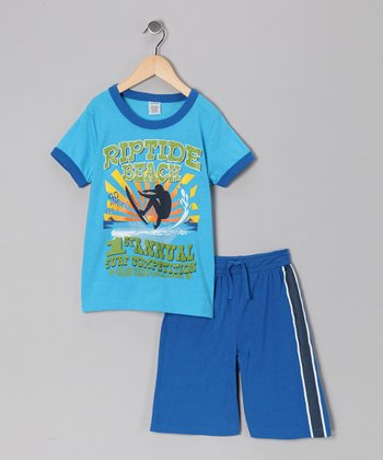 Blue Surf Tee & Shorts - Boys