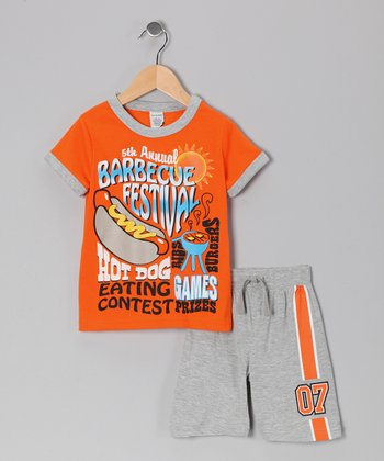Orange 'Hot Dog' Tee & Shorts - Boys