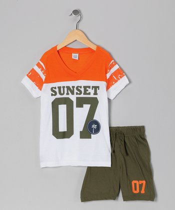 White & Orange 'Sunset' Tee & Shorts - Toddler & Boys