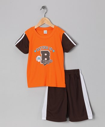 Orange 'Batters Up' Tee & Shorts - Boys