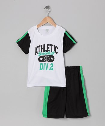 White 'Basketball' Tee & Shorts - Boys