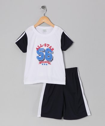 White 'All-Star' Tee & Shorts - Boys