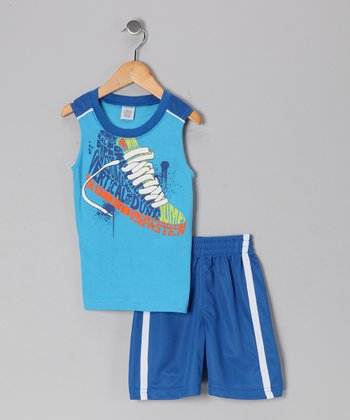 Blue Shoe Tank & Shorts - Boys
