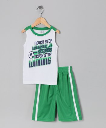 White & Green Soccer Tank & Shorts - Boys