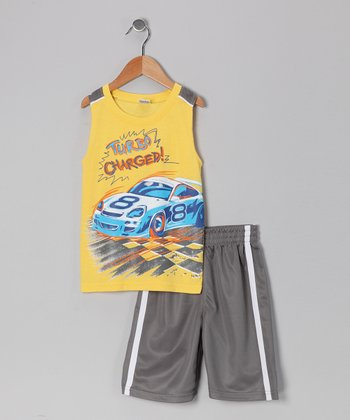 Yellow Racecar Tank & Shorts - Toddler