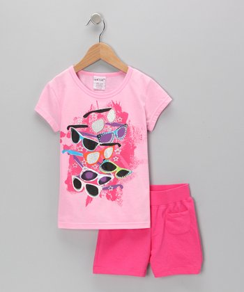 Pink Sunglasses Tee & Shorts - Toddler