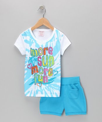 Blue 'More Sun' Tee & Shorts - Toddler