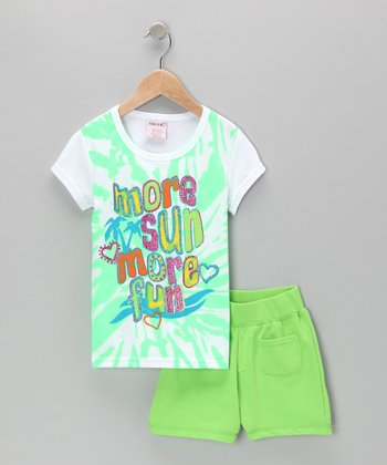 Green 'More Sun' Tee & Shorts - Toddler