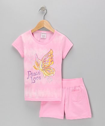 Pink 'Peace Love' Tee & Shorts - Toddler